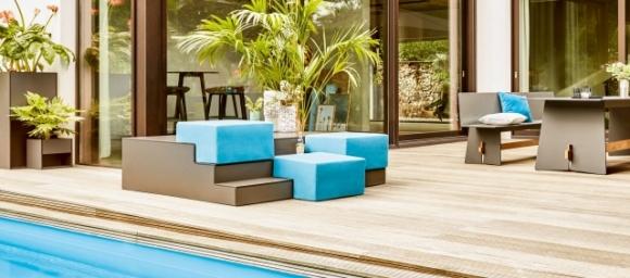 nowoczesne meble ogrodowe; meble do ogrodu z HPL; funkcjonalne mebel ogrodowe;